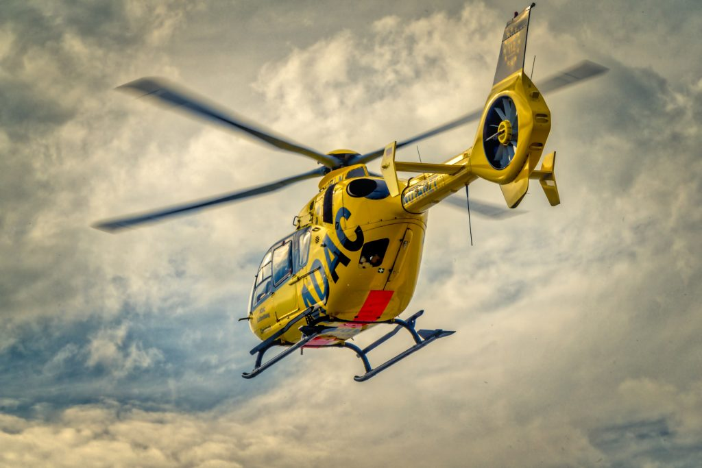 A yellow rescue helicopter