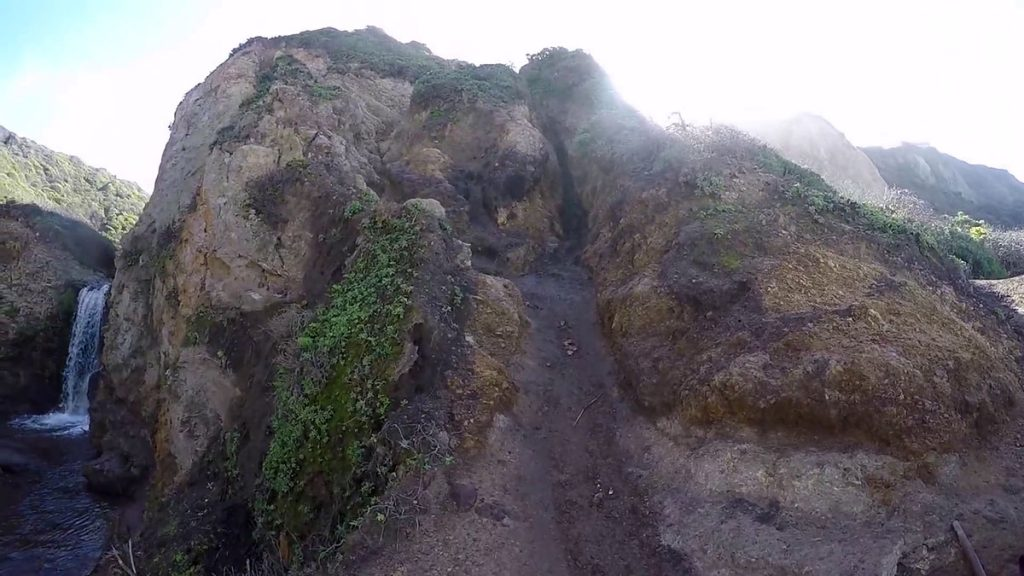 The first of two steep cliff scrambles coming from Palomarin Trailhead and leading down to the first waterfall.