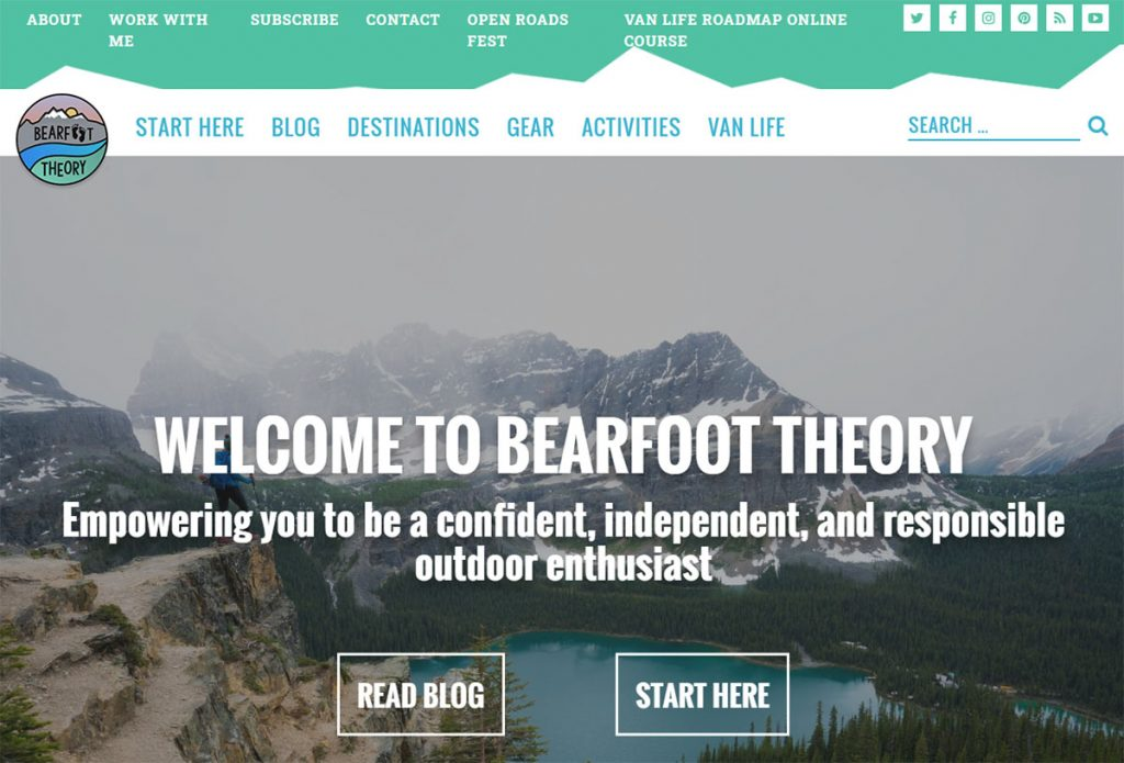 Bearfoot Theory is a ton of read because the personality of the writer, Kristen. She spends most of the year living out of a van and all of the year getting outdoors.