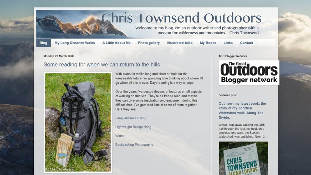 Author of 25 books and hiker of many, many long distance trails, Chris Townsend shares his expertise and stunning photos in at Chris Townsend Outdoors.