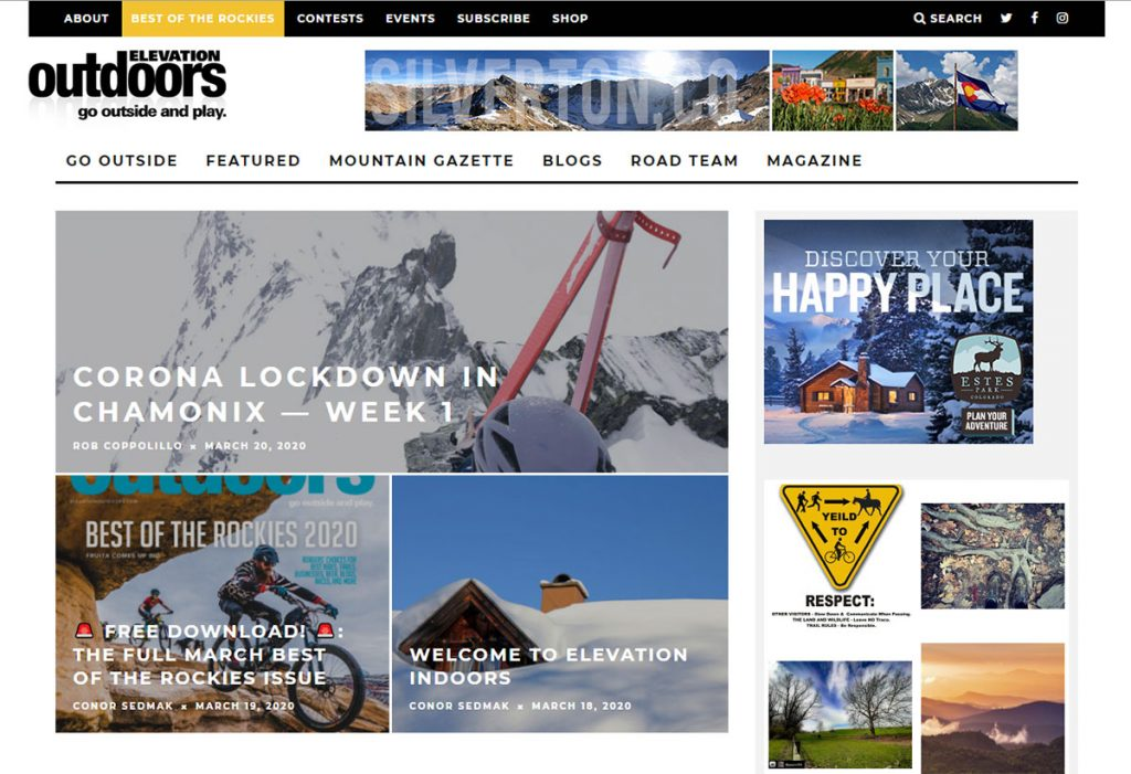 Since 2009, Elevation Outdoors Magazine has been the leading guide to outdoor sports, health/fitness and adventure travel in Colorado and Rocky Mountain West and beyond.