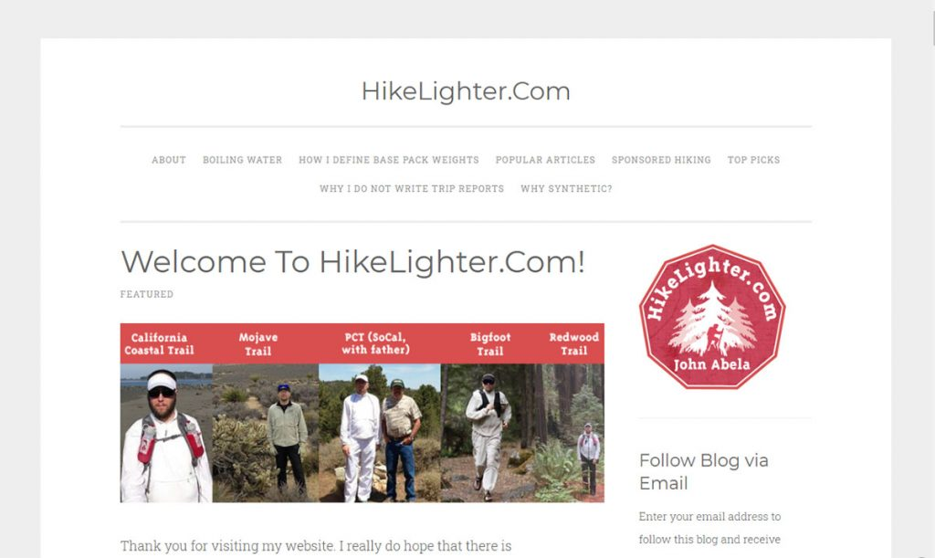 Hike Lighter is a very gear focused blog and very much about ultralight backpacking as the name suggests.