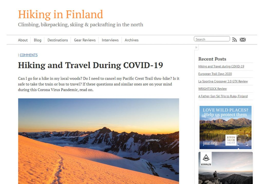 Hiking is Finland is of course focused on Finland but contains so much more. You can find tons of gear recommendations as well as info on other European countries. And if you are going hiking in Finland, this is certain the definitive guide.