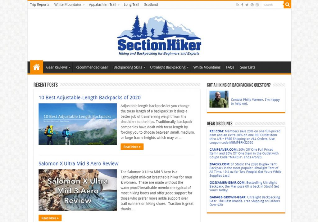 Section hiker is about completing long thru-hikes in sections, making it not a thru-hike but still getting to do all the best parts. You can tell the owner Philip is a good guy because he's got a link to contact him right on the front page saying he's happy to help out!