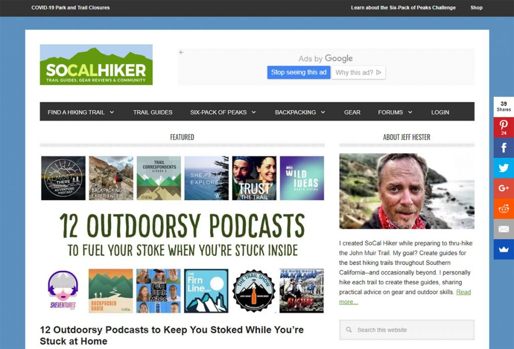 SoCal Hiker is the brain child of avid hiker Jeff Hester. Despite what the name suggests, he doesn't just stay in southern California.
