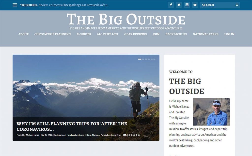 Michael Lanza was an editor for Backpacker magazine but left to start this blog, The Big Outside. His site offers guides from all over the western US as well as personalized trip planning and general topic e-guides for sale.