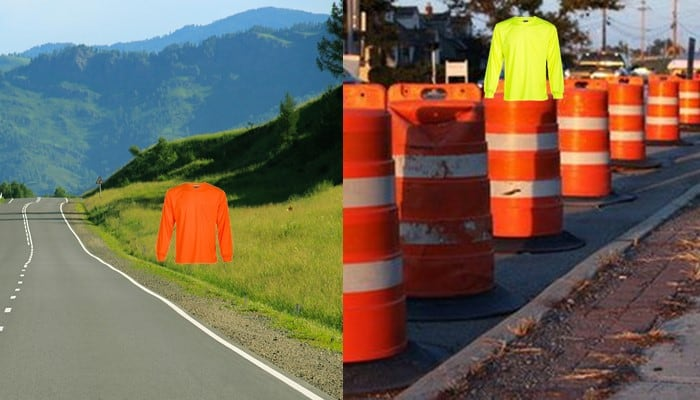 Choose colors for your hi vis shirts that contrast from the background for maximum visibility.