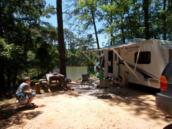 A typical campsite at Hamilton Branch State Park Campground