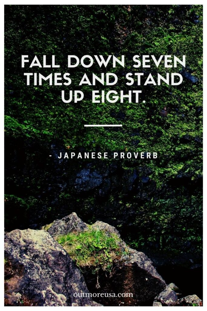 """Fall down seven times and stand up eight."" - Japanese Proverbs 